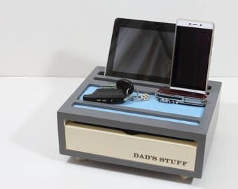 desk organizer for men, ipad stand, iphone, wood desk accessories, gift for him, Anniversary gift for men, charging station