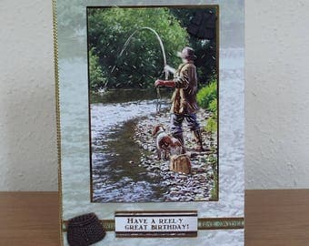 Male Birthday Card - Fishing/Fish  - luxury personalised unique quality special bespoke UK - Dad/Son/Uncle/Brother/Nephew