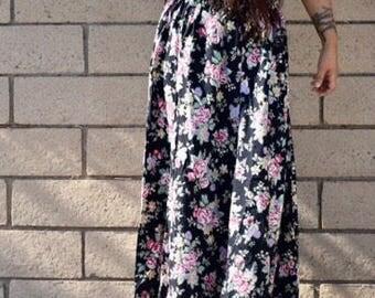 Vintage Boho Style Black Rose Print Long Maxi Full Skirt With Elastic Waist - fits size S - L
