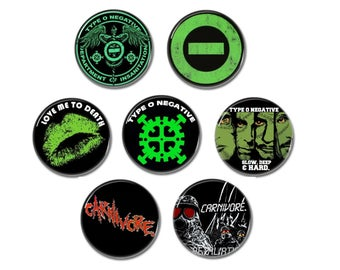 Type O Negative & Carnivore buttons set of 7! (25mm, badges, pins, doom metal, heavymetal, gothic)