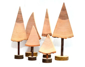 Set Of Wood Christmas Trees, Natural Wooden Trees, Christmas Holiday Decor,  Tabletop Decorations