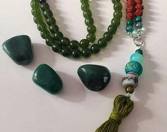 Green Chalcedony Crystal Mala