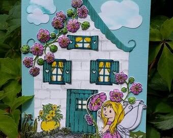 Handmade Fairy Cottage Greeting Card, Girl's Birthday Card