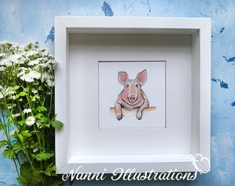 Watercolor Pig Art