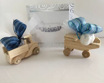 Baptism favors for Boys-Bombonieres-Wooden favors-Truck-Airplane-Greek Baptism-mpomponieres