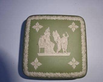 Wedgwood Sage Green Jasperware Square Trinket Pot/Trinket Pot/Lidded Pot/Soap Dish/Green Jasperware/Jasperware/Collectable/Vintage/1980s