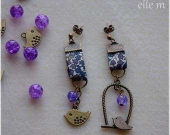 Earrings liberty, bird, purple tone