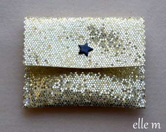 Sleeve with sequin fabric jewelry gold with Black Star snap