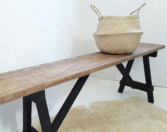 Scandinavian design wooden bench. Contemporary bench