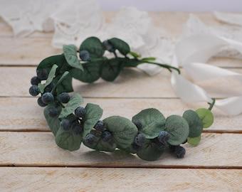 Eucalyptus flower crown Vintage Headband Bridal Flower Hairpiece Flower Bridal Crown Flower Headband Wedding Flower Hair Vintage Wedding