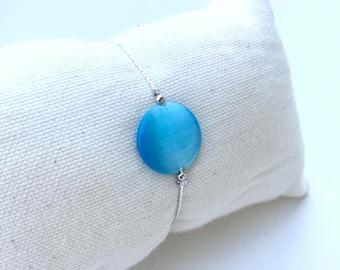 Bracelet round azure blue