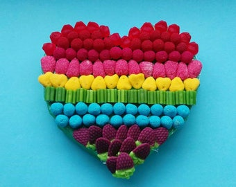 Multicolor heart of sweets