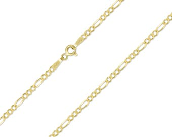 """10K Solid Yellow Gold Figaro Choker Necklace Chain 1.5-3.0mm 11-15"""" - New Link"""