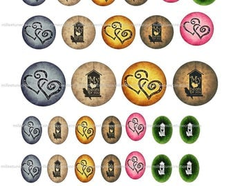 40 Digital Images series 210 - love creations cabochons - sending by e-mail