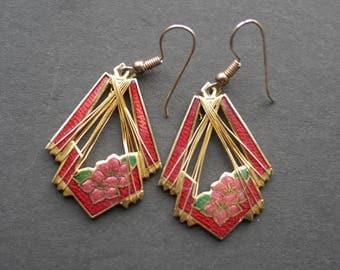 Red enamel wire wrapped vintage Cloisonne flower earrings for pierced ears