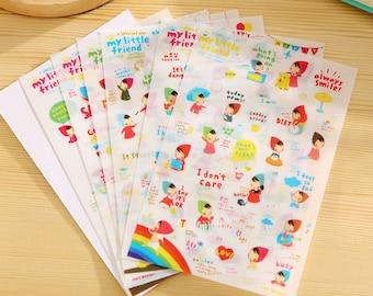 "Stickers 6 sheets set ""My little friend"""