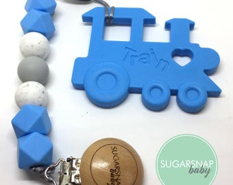 Silicone train baby teether - blue silicone train teether - baby gift - silicone teethers - pacifier clip - new baby gift - newborn present