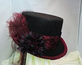 black and red TOP HAT victorian steampunk renaissance faire cosplay sz Large
