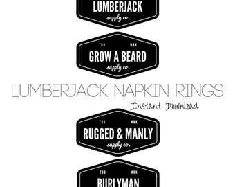 Lumberjack Napkin Ring Printable, Lumberjack Party Printable, Lumberjack Napkin Wrap, Lumberjack Water Bottle Wrap, Digital Download