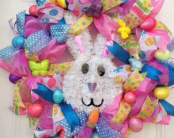 XL,Storm Door Wreath,Easter/Spring multi color deco mesh holiday wreath/Front door decor