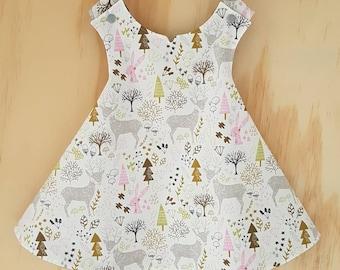 Pinafore Dress - Reversible - Hello My Deer - Baby Girl Dress - Mauve Flowers - 9-12 Months -  Newborn Dress - Summer Dress - Naming Day