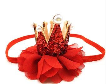 1st Birthday Headband, First Birthday Crown, Newborn Girl, Red Headband, Hair Accessories For Babies Baby, Newborn Photo Prop,