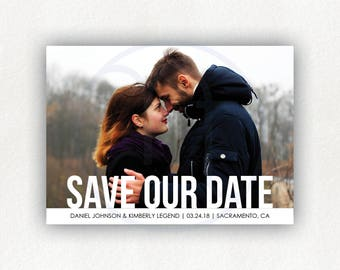 Printable, Custom, Bold, Simple Save the Date Postcard, Photo Announcement, Engagement Card, Wedding Announcment