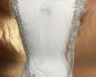 Designer Full body Rhinestone Applique, Beaded Wedding Dress Applique. Swarovski Shine Silver # 81180/HBP