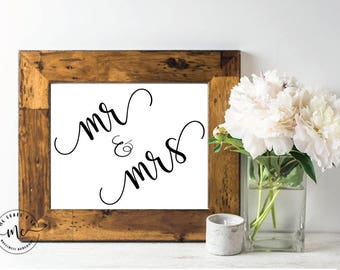 Mr and Mrs Print, Wedding Prints, Printable Instant Download, Digital File, Wedding Table, Wedding Decor, Marriage, Bride and Groom