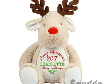 Personalised Christmas Reindeer Plush Toy, christmas reindeer personalised with your Merry Christmas message, christmas gift