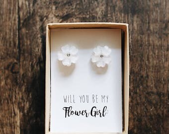 White Flower and Crystal Flower Earrings | Flower Girl Proposal | Pink Pearls | Will you be my | Tie the Knot | Bridesmaid Proposal