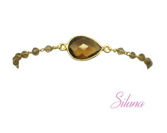 Bracelet smoky quartz and vermeil (sterling silver 925 gold plated): gemstones and Rosary chain