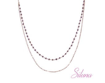 Pink Amethyst necklace, 2 rows of Rosary chain and vermeil (925 sterling silver plated rose gold)