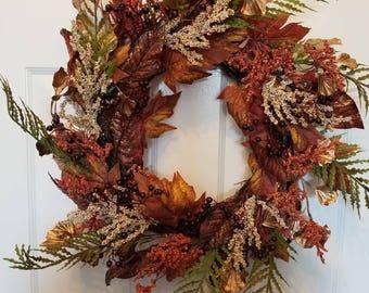 Fall wreath/ autumn wreath/door wreath/front door wreath/housewarming wreath/ door decor F32
