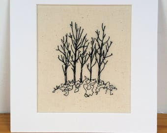 One of a kind mounted embroidered trees
