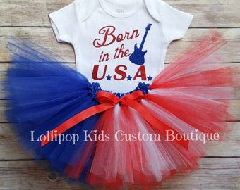 Born in the USA white short sleeve top and/or tutu