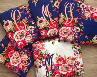 Bridesmaid robes set, bridesmaid gifts, cotton floral getting ready robes, bridal robes set, bridal party gifts, wedding robes