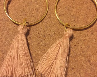 Gold Coloured Hoop Blush Pink Earrings