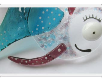 """Bob the round"" turquoise and pink fused glass fish"