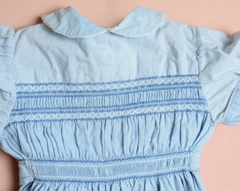 Antique French smocked baby toddler romper in blue /ruffled short sleeves round neck