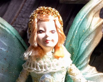 "Fae Folk® Fairies - GEMMA - Jewel Fairy. Bendable, posable 5"" soft doll can sit, stand, or hang."