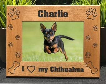 Personalized Engraved Chihuahua Photo Frame Gift Picture Custom Pet Dog