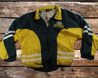 Vintage 90s Green Bay Packers Empire Green & Yellow Windbreaker Jacket Size L For Fans of The Pack, GB, The Bay, or Vintage Starter Jackets
