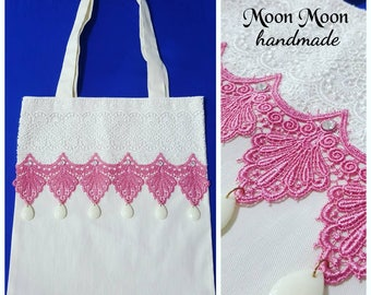Moon Moon pink lace tote bag