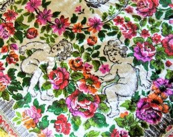 Velvet Italian Wedding Blanket Bedspread Italian Tablecloth Cupid Bohemian  King Bedspread Antique Cherubs Roses Velvet Tapestry