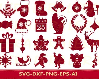 60 % OFF, Christmas Silhouette, Christmas Svg, Merry Christmas svg, Christmas Clipart, Christmas SVG, dxf, ai, eps, png, Vector Files
