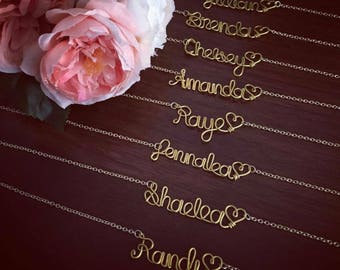 Bridesmaids Necklaces - Personalized Wire Name Necklace - Custom Names/ Bride/ Wedding Party/ Birthday/ Baby/ Graduation / Mom GIFT