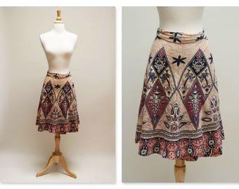 1970s Block Print Wrap Skirt Vintage Pakistani Midi Skirt 70s Boho Ethnic Indian Skirt