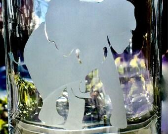 Elephant Etched Drinking Glasses 11 oz