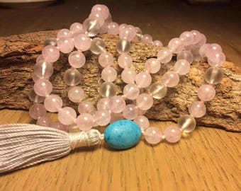 Quartz Mala: Rose Quartz and Matte Quartz